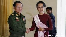 Myanmar Treffen Min Aung Hlaing und Aung San Suu Kyi