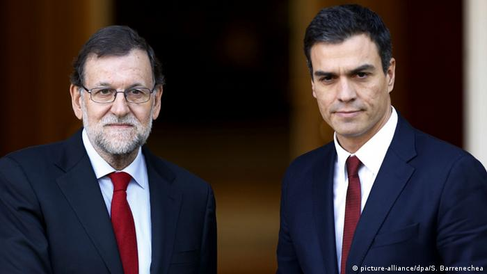 Pedro Sanchez and Prime Minister Mariano Rajoy