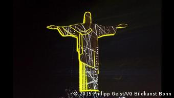 christ statue illuminated t