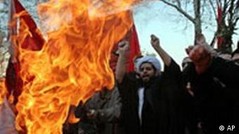 Muslim burning Danish flag