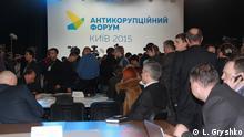 Bilderbeschreibung: Antikorruptionsforum in Kiew (Kyiv). Datum: 23.12.2015 Ort: Kiew (Kyiv) Tags: Ukraine, Forum, Korruption, Kampf, Kiew, Mikheil Saakaschwili. Autor: L. Gryshko