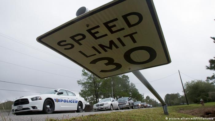 A traffic sign in Texas damaged by a tornado