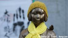 SEOUL, SOUTH KOREA - DECEMBER 28: A statue of a girl symbolizing the issue of comfort women in front of the Japanese Embassy on December 28, 2015 in Seoul, South Korea. South Korean Foreign Minister Yun Byung Se and Japanese Foreign Minister Fumio Kishida met to discuss the issue of Korean 'comfort women' in Japanese military brothels before and during World War II. (Photo by Chung Sung-Jun/Getty Images) Getty Images/C. Sung-Jun