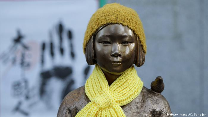A statue of a girl symbolizing the issue of comfort women in front of the Japanese Embassy in Seoul, South Korea (Getty Images/C. Sung-Jun)