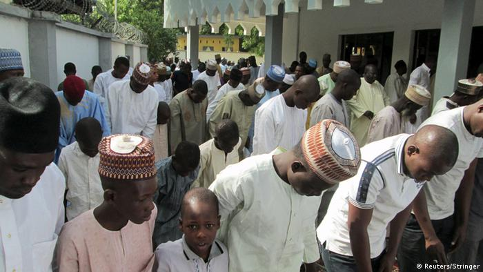 Muslims in Maiduguri attending Friday prayers