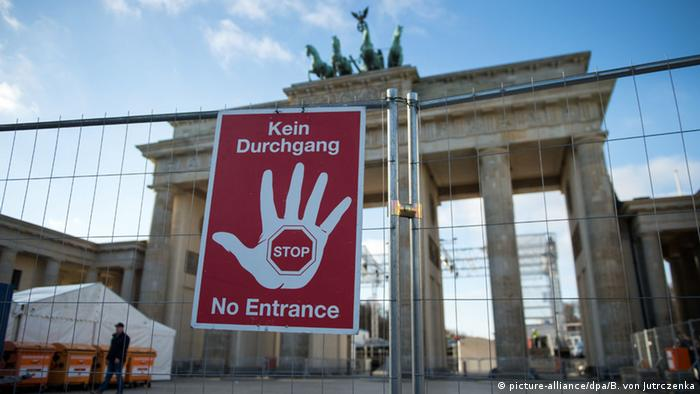A No Entrance sign outside the Brandenburg Gate, December 28.