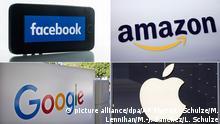 Bildkombo aus: ARCHIV - Das Logo von Facebook ist am 17.09.2015 in Berlin auf einem iPhone 5s zu sehen. Das Unternehmen hat vor kurzer Zeit das Design des Buchstaben a im Namen geändert. Foto: Lukas Schulze/dpa (zu: Facebook rechtfertigt Einsatz von Identitäts-Datei +++(c) dpa - Bildfunk+++ Lukas Schulze FILE - This Sept. 28, 2011, file photo shows the logo for Amazon during a news conference, in New York. Amazon is launching its site for handcrafted goods called Amazon Handmade on Thursday, Oct. 8, 2015, hoping to capitalize on shoppers¿ appetite for homemade goods ahead of the holiday season. (AP Photo/Mark Lennihan, File) This Oct. 20, 2015 photo shows signage outside Google headquarters in Mountain View, Calif. (AP Photo/Marcio Jose Sanchez) Apple Store am Jungfernstieg am 13. November in Hamburg. Ralph Goldmann picture alliance/dpa/AP Photo/L. Schulze/M. Lennihan/M.-J. Sanchez/L. Schulze