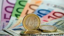 Euro bills and a 1-euro coins (picture-alliance/dpa/D. Reinhardt)