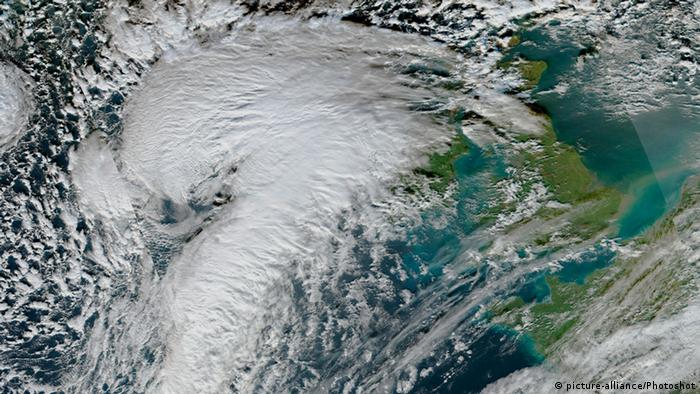 A satellite image of Storm Eva over the UK