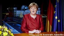 +++German Chancellor Angela Merkel poses after recording her New Year's speech in the Chancellery in Berlin, Germany, December 30, 2015. REUTERS/Hannibal Hanschke