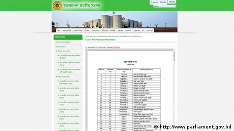 Screenshot Website Bangladesh Parlament Mitglieder