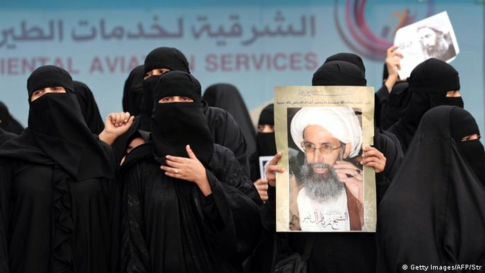 Women protest the execution of Shiite Muslim cleric Nimr al-Nimr in 2016
