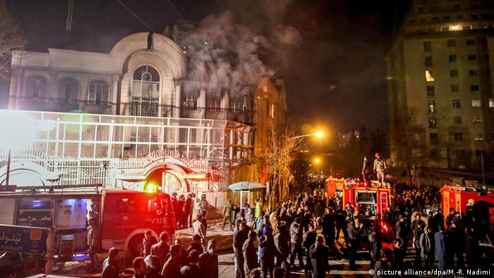 The Saudi embassy in Iran being attacked by protesters