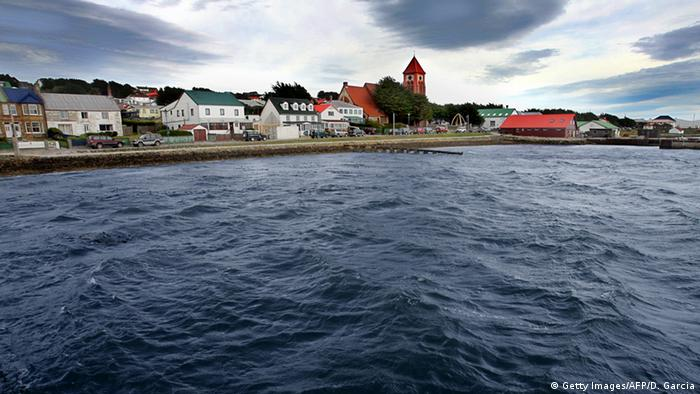 View of the city from the jetty of Port Stanley in the Falkland Islands