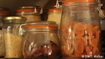 Jars of dried fruit