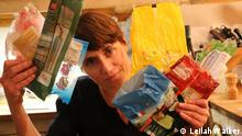 Tamsin Walker holding empty plastic food bags