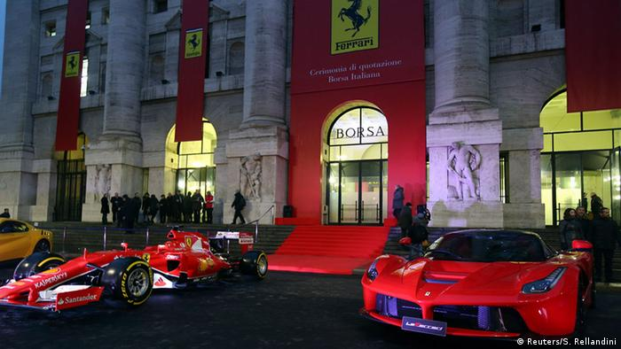 Ferraris in front of Milan stock exchange