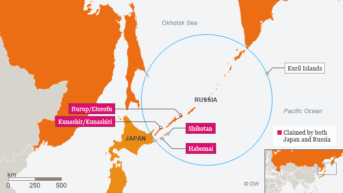 Infographic showing Kuril Islands