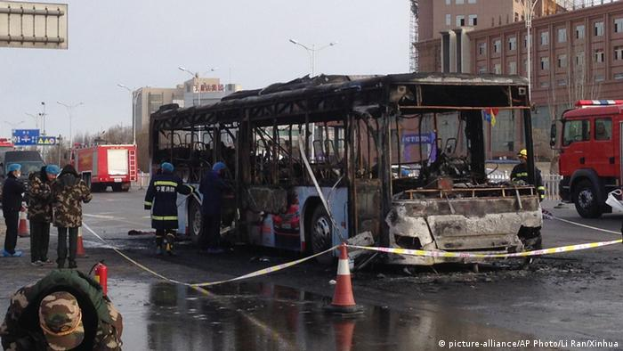 Burnt out bus in China