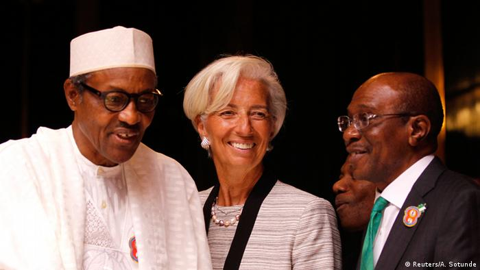 Left to right: Buhari, Lagarde and Emefiele (Reuters/A. Sotunde)