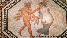 Die Aufnahme zeigt einen Ausschnitt aus dem Dionysos-Mosaik (220-230 nach Christus), das im Römisch-Germanischen Museum in Köln zu sehen ist. Aufnahme von 1999.