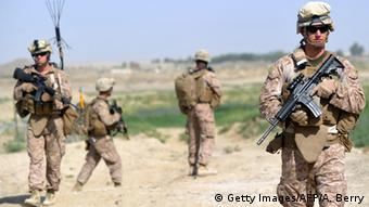 Marines from Kilo Company of the 3rd Battalion 8th Marines Regiment start their patrol from FOB (Forward Operating Base) Delhi in Garmser, Helmand Province on June 27, 2012 (Photo: ADEK BERRY/AFP/GettyImages)