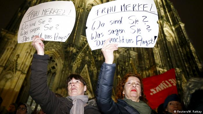 Women protesting in Cologne after the sexual harassment incidents