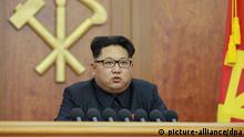 6. Jan. 2015 ©Kyodo/MAXPPP - 06/01/2016 ; Undated file photo shows North Korean leader Kim Jong Un giving a nationally televised 2016 New Year's address. It was reported on Jan. 6 that an earthquake suspected to be an explosion occurred in North Korea. (Kyodo) ==Kyodo (C): picture-alliance/dpa