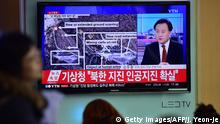6. Jan. 2015 CORRECTION - YEAR People watch a news report at a railroad station in Seoul on January 6, 2016, after seismologists detected a 5.1 magnitude tremor next to North Korea's main atomic test site in the northeast of the country. North Korea said on January 6 it had successfully carried out its first hydrogen bomb test, marking a major step forward in its nuclear development if confirmed. AFP PHOTO / JUNG YEON-JE / AFP / JUNG YEON-JE (Photo credit should read JUNG YEON-JE/AFP/Getty Images) (C): Getty Images/AFP/J. Yeon-Je