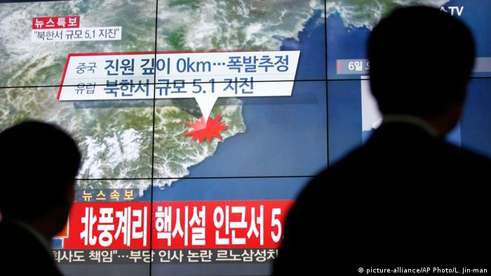 Nordkorea TV Berichterstattung Südkorea zu Wasserstoffbombe (picture-alliance/AP Photo/L. Jin-man)