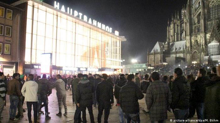 Cologne railway station and cathedral on New Year's Eve 2015