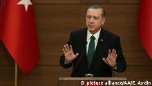 6.1.2016 ANKARA, TURKEY - JANUARY 6: President of Turkey Recep Tayyip Erdogan delivers a speech during the mukhtars meeting at the Presidential Complex in Ankara, Turkey, on January 6, 2016. Evrim Aydin / Anadolu Agency picture alliance/AA/E. Aydin