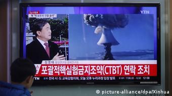 TV Berichterstattung in Südkorea am 6. Januar 2016 nach dem 5. nordkoreanischen Atomtest