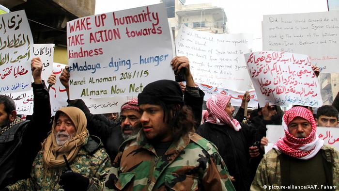 Syrien Proteste gegen Hungersnot in Madaya CLOSE