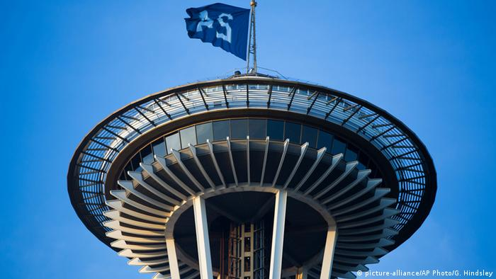 A Ken Griffey Jr. flag waves from the Space Needle in honor of Griffey's election to the Baseball Hall of Fame
