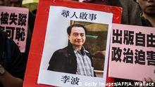 Bild von Lee Bo auf einer Demonstration in Hongkong
