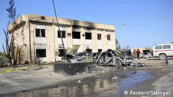 A general view shows the damage at the scene of an explosion at the Police Training Centre in the town of Zliten, Libya.