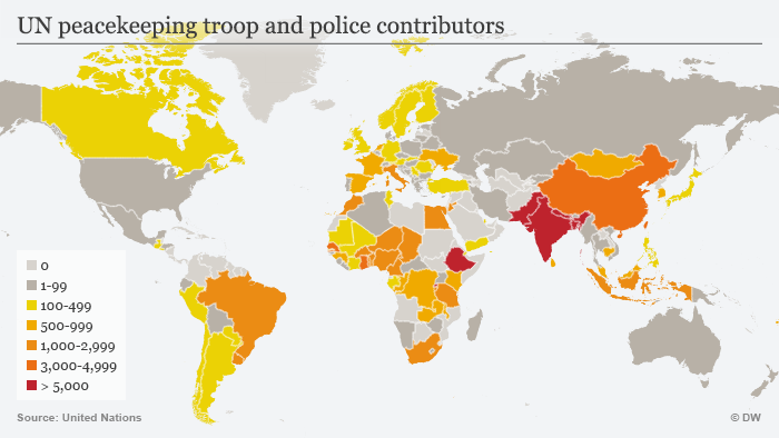 Map UN peacekeeping troop and police contributors 2016
