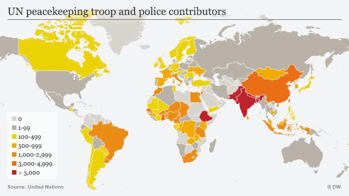 Karte UN peacekeeping troop and police contributors ENG