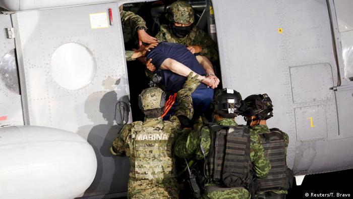 Joaquin Guzman Loera - El Chapo being taken to Mexico City earlier this year