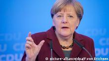 Die Bundeskanzlerin und CDU-Vorsitzende Angela Merkel spricht am 09.01.2016 auf einer Pressekonferenz nach der Klausurtagung des CDU-Bundesvorstandes in Mainz (Rheinland-Pfalz). Nach den massiven Angriffen auf Frauen an Silvester in Köln hat der CDU-Parteivorstand auf seiner Klausur in einer Mainzer Erklärung schärfere Gesetze gefordert. Foto: Fredrik von Erichsen/dpa +++(c) dpa - Bildfunk+++picture-alliance/dpa/F.von Erichsen