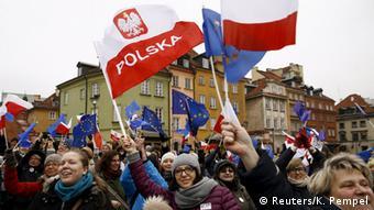 Polen Warschau Pro-Demokratie Demonstration