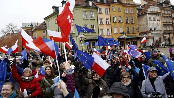 Polen Warschau Pro-Demokratie Demonstration