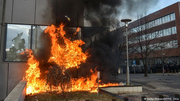 A fire was set during a demonstration in Kosovo over Serbia's EU-accession talks.