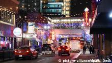 Eine abendliche Stadtansicht von Detroit (Michigan) aufgenommen am 09.01.2016. Vom 11. Januar bis zum 24. Januar 2016 findet in Detroit die North American International Auto Show (NAIAS) statt. Zuerst nur für die Presse und Händler dann auch für Privatbesucher. Foto: picture-alliance/dpa/U. Deck