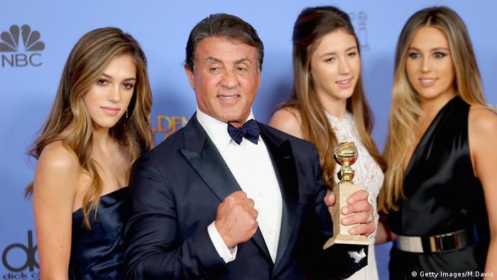 Golden Globe-Verleihung: Schauspieler Sylvester Stallone in Beverly Hills und drei seiner Töchter.