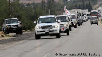 Гуманитарный конвой по пути в осажденный город Мадаю