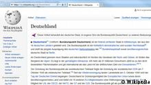 Screenshot Wikipedia-Artikel Deutschland