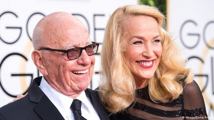 Rupert Murdoch and Jerry Hall at the 73rd Goldne Globe Awards.