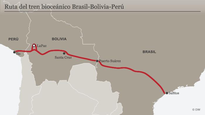 Karte geplante Bahnstrecke Brasilien - Peru
